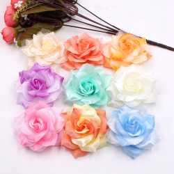 Prix 10 Pcs Grand Soie Feu Rose Fleur Artificielle Pour La Main De