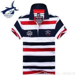 2017 de Haute Qualité Tops   T-shirts Hommes Tace Requin Polo Chemises de  Style de mode D été Rayé Shark marque à manches courtes polo shirt hommes fd4ed511121