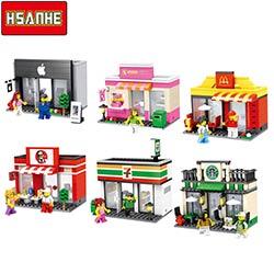 Mcdonald Blocs Hsanhe Modèle Magasin 2017 Jouets 6 Ville Construction Avec Styles De Mini Boutique Hotsale Lego Série Compatible Rue 1TFKcJl