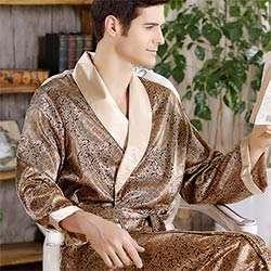 2017 Nouveau Printemps Automne De Luxe Peignoir Hommes Impression Plus La Taille Soie Satin Pyjamas Kimono D été Mâle Chemise De Nuit Robe De Soie