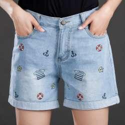 5755cdc6e0da00 2017 Nouvelle Grande Taille Femmes D'été Jeans Code Denim Shorts Femelle  Graisse MM Mince Broderie Loisirs Pantalon pour la Mode Fille