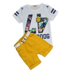 d233847e599bb 2018 2-6 Ans Garçon Marque Ensemble D été pour Enfants Vêtements ensembles  Bébé Garçons T-shirts + shorts + ceinture 3 pcs Pantalon Sport Costume  Enfants ...