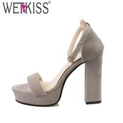 premium selection b9b36 f350d 2018-mode-d-ete-sandales-femmes -talon-pais-plate-forme-sandales-cheville-sangle-troupeau-talons-hauts-robe- chaussures-couverture-talon-a-bout-ouvert- ...