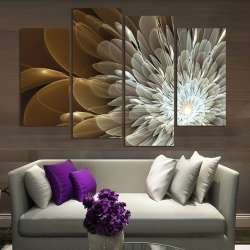 Prix 4 Pcs Richesse Et De Luxe D Or Fleurs Peinture Impression Sur