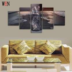 5 Piece Chat Et Tigre Toile Art Mur Photos Hd Imprime Pour Salon Moderne Toile Imprime L Illustration Nouvelle Annee Animaux Peinture
