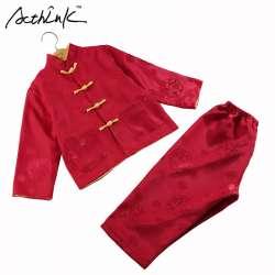 7b32a35c4389d ActhInK Bébé Garçons Réversible Style Tang Costume Marque Enfants Chinois  Traditionnel Dragon Broderie Coton et Lin Vêtements Ensemble, MC118