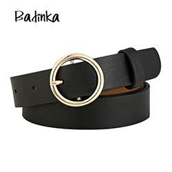 Badinka Nouveau Or Rond En Métal Cercle Ceinture Femelle Or Argent noir  Blanc PU Cuir Taille Ceintures pour Femmes Jeans Pantalon en gros 58780536327