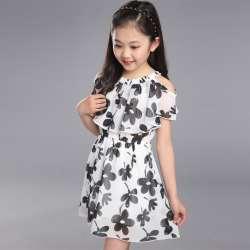 541e5cc953a08 Bébé Filles Robe D été 2018 Mode Enfants Vêtements Enfants Fleur robe En  Mousseline de Soie Princesse Costume Robes 8 9 10 11 12 ans