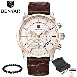BENYAR Hommes Montre Top Marque De Luxe Quartz Montre Hommes Sport Mode  Analogique Bracelet En Cuir Homme Montre-Bracelet Imperméable Horloge xfcs 11894f4197f