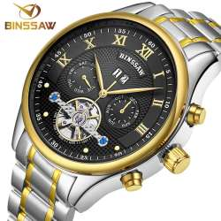 e230f8b506096 BINSSAW nouveau 2017 Haut de marque de luxe hommes automatique mécanique  montres tourbillon de mode d'affaires de sport en acier inoxydable montre