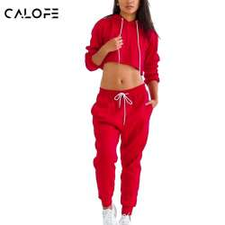 c9a8d6c7f6 CALOFE Femmes Sport Costumes Rouge Course À Capuchon Veste Hip Hop Pantalon  de Survêtement Jogging Ensembles Recadrée Pull Lâche Pantalon z30