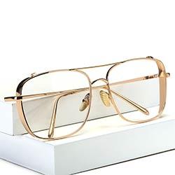 3a8c0f85c0e82 Carré Surdimensionné Vintage Objectif Clair Lunettes De Soleil D or Cadre  Hommes Femmes myopie lunettes femme lunettes oculos de grau