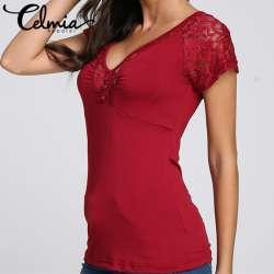 d1f182bbc2aad celmia-blusas-sexy-blouses-plus-la-taille-4xl-2017-d-ete -femmes-femininas-dentelle-a-manches-courtes-col-v-tops-slim-casual-chemises -blouses.jpg