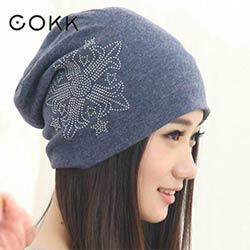 COKK Casual Bonnets Chapeaux D hiver Pour Femmes Mode Tricoté Beanie Chapeau  D hiver Strass Flèche Bonnet Turban De Chapeau Féminin Gorros 9be5a277474