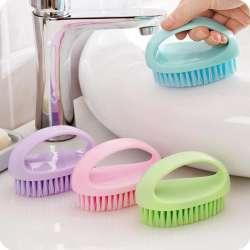 Color Multi Fonctionnelle De Nettoyage Laver Flexible Brosse Main En Plastique Doux Salle Bains Cheveux Blanchisserie P