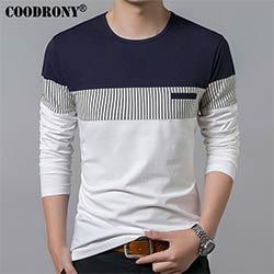 COODRONY T-Shirt Hommes 2017 Printemps Été Nouvelle Manches Longues O-cou T  Shirt Hommes Marque Clothing Mode Patchwork Coton Tee Tops 7622 c15a5ba2545