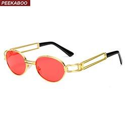 Coucou 2017 rétro vintage lunettes de soleil hommes petit rond or métal  rouge ovale petit soleil lunettes pour hommes vintage femmes uv400 167d54b0e906