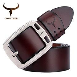 COWATHER peau de vache véritable ceintures en cuir pour hommes marque  Sangle mâle boucle ardillon vintage jeans ceinture 100-150 cm long taille  30-52 XF001 e9b191f85a7