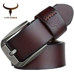 0%REDUC. COWATHER Vintage style boucle ardillon vache véritable ceintures  en cuir pour hommes 130 cm haute qualité mens ceinture ... bbd9054410b