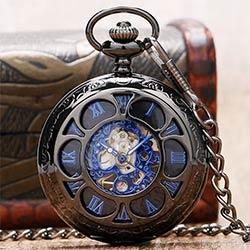 e40fe15153d De luxe Steampunk Creux Squelette Mécanique Montre De Poche Chiffres  Romains Cadran Vintage Fob Chaîne Pendentif Horloge Hommes Femmes Cadeaux