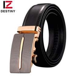 af675e0588f DESTIN marque véritable ceinture en cuir hommes automatique boucle or  célèbre designers de luxe haute qualité sangle mâle brun simple cowboy