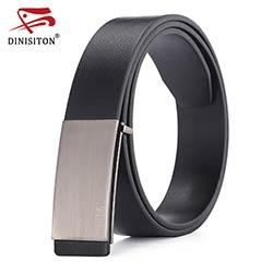 DINISITON 100% peau de vache véritable ceintures en cuir pour hommes Sangle  mâle Lisse boucle vintage jeans cowboy Casual designer marque ceinture 213236dab0a