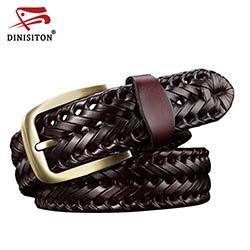 abd52e0b42f DINISITON Tissé ceinture en cuir véritable de femmes bretelles homme  ceintures Large ceinture Mâle peau de vache mode vintage marque femme  ceinture