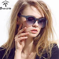 DRESSUUP 2017 Nouvelles Femmes Marque Designer Vintage lunettes de Soleil  Femme Semi-sans monture Rétro Lunettes de Soleil Ronde Oculos De Sol Gafas  Mujer 368084bc7beb
