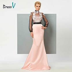 longues de robes sirène appliques formelle de parti soirée bal robe rose manches Dressv de col soirée lumière longue robe haut trompette fqUEwvH