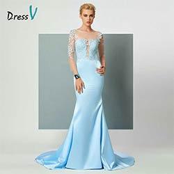 2eedb27786a DressV lumineux ciel bleu sirène robe de soirée appliques 3 4 longueur  manches élégant dos ouvert femmes formelle parti robes de soirée
