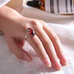 Bague pierre rouge femme pas cher