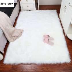 En peluche tapis Chambre imitation laine Boutique fenêtre tapis blanc Rond  tapis De Fourrure Plaine Moelleux Tapis Chaud Poilu Tapis Siège Pad