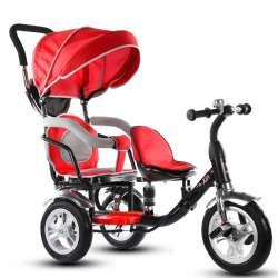 09546f1eb995 Enfant tricycle bébé vélo double garçon et fille poussette double poussette  vélo Nouvelle arrivée Enfant tricycle bébé auto pour bébé poussette