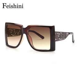 FEISHINI Marque Designer Motif Métallique Creux Jambes Chaude Lunettes  dames HD Carré Superstar Surdimensionné lunettes de Soleil Femmes Vintage  2018 396af19f9cee