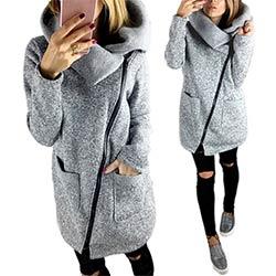 Femmes Automne Hiver Vêtements Casual Chaud Longue Veste Polaire Oblique Fermeture Éclair Col Manteau Plus La Taille Dames Veste