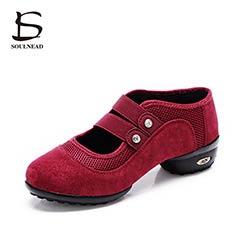 Femmes carré sneakers chaussures de danse jazz hip hop double ceinture  chaussures salsa femme plate-forme danse dames chaussures rouge noir vert  couleur 930c7573524