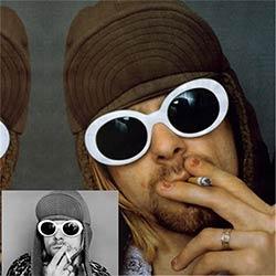 Femmes Hommes mode NIRVANA Kurt Cobain de lunettes de Soleil Femmes  Lunettes UV400 Miroir Femmes Hommes Fahion Femme Homme Lunettes de Soleil 9bce3b85a62f