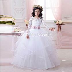 5ffb07f01081d Fleur Fille Robes À Manches Longues Belle Dentelle Blanche robe de Bal  Appliques Première Communion Robes Pour Le Mariage Mère Fille Robes
