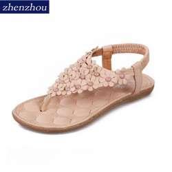 3fab3d11a8e7e6 Fret libre 2016 chaussures de Dame d'été étudiant contracté plat string  sandales femme Bohême fleurs avec antidérapant chaussures de plage