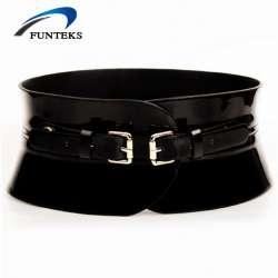 73aa1c017e4 Funteks femmes casual élastique ceinture femelle haute qualité cowskin  véritable ceintures en cuir pour femmes large ceintures luxe ceintures  femmes