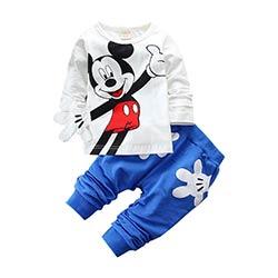 8a0c49713ed14 Garçons Filles Vêtements Ensembles Enfants Coton Sport Costume Enfants  Mickey Minnie de Bande Dessinée T-shirt Et Pantalon Ensemble Bébé Enfants  Vêtements ...