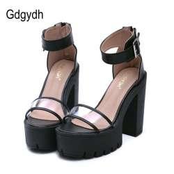 84c4ef361201e Gdgydh Mode 2017 Chaussures D'été Femme Sandales Cheville Sangle PVC Épais  Talons 13 cm Russe Haute Talons Plate-Forme Chaussures Femme à coudre