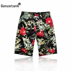 Gonzetank 2017 Nouveau Designer D été Hawaïen Hommes de Plage Shorts Vert  Feuille Carthame Bermudes Sweat Jogger Cargo Short Taille L-XXL f09522ab238