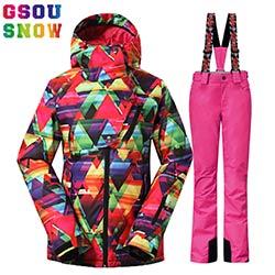 f9e642d6d7832 GSOU NEIGE combinaison de Ski Femmes Costumes De Snowboard Ski Vestes  Respirant Pantalon D'hiver de Montagne En Plein Air Ski Costume Étanche  Femelle ...