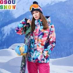 Gsou Neige Veste De Ski De Marque Femmes Coloré Snowboard Veste Dhiver Imperméable Vêtements De Ski Femme Ski Snowboard Pas Cher Neige Manteau