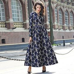 Haute Qualité 2017 Nouvelles Femmes Boho Manches Longues Robe De Mode  Vintage Marine Bleu Floral Jacquard Robe Automne Hiver Longue Maxi robe 96a6e1112b2a