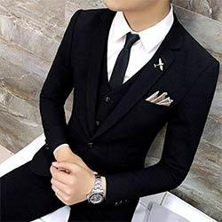 Haute Qualité Hommes Noir Or Smoking Hommes Costume Noir 3 Pièces Hommes Formelle Costumes Costume Homme Costumes De Mariage Pour Hommes Costumes Pour