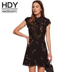 HDY Haoduoyi 2018 Mode D été Femmes Vintage A-ligne Imprimer Manches  Courtes Mini Robe Empire O-cou Solide Noir Robes 5597cb08802