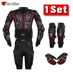 d32860c8e9d1cf HEROBIKER Rouge Motocross Racing Moto Body Armor Protection Moto Veste +  Shorts Pantalon + Équipement De Protection Genouillères + Gants