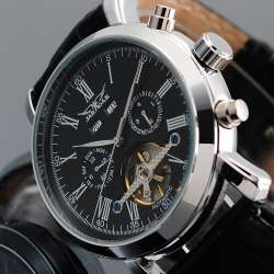 335770855781 JARAGAR Hommes Montres Top Marque En Cuir Noir Bande Designer Montre  Mécanique Relojes Hombre Mâle Horloge Horloges Mannen